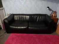 LARGE 3 SEATER BLACK LEATHER METAL ACTION SOFA BED MODERN LOOK DOUBLE