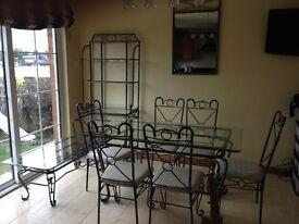 Wrought Iron Glass Top Set