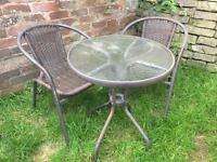 Garden table and chaira