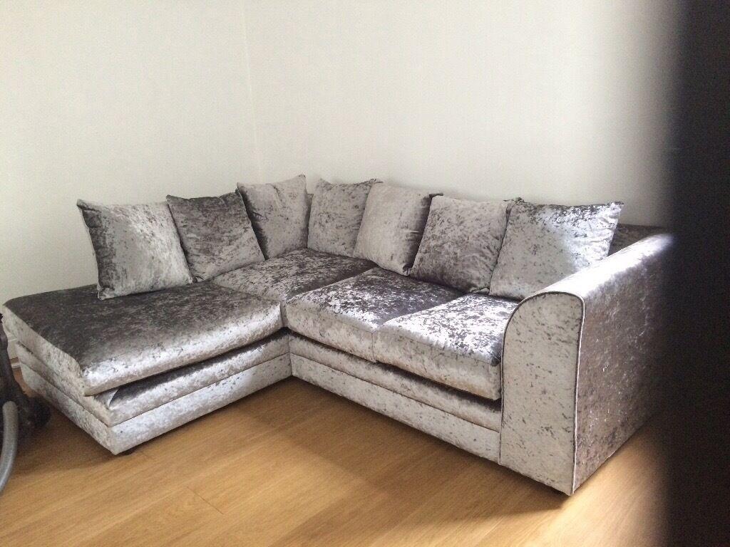 Pearlesant Silver Crushed Velvet Corner Sofa In Helsby