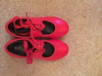 Red tap shoes girls size 8.