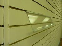 Slanted slatwall acrylic shelf 600mm wide