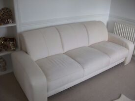 Cream suede 3 seater + armchair