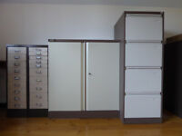 4 drawer filing cabinet, locking cupboard & 2 sets of shallow filing/storage drawers, all metal