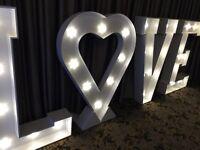 Giant Illuminated 5ft LOVE or MRS & MRS Letter Hire - L❤︎VE