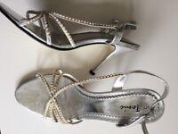 Silver Sandals with diamanté straps Size 5