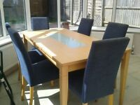 Dining room table and 6 Navy Blue chairs