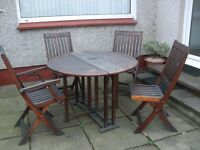 Hvy wooden Garden drop Leaf table + 4 chairs