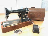 Vintage C series Singer electric singer sewing machine, working, plus 12 spare bobins
