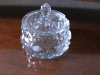 BRAND NEW Cut Glass Pot Jar with Lid & Stand for Sugar, Jam, Preserve, Honey or Mustard