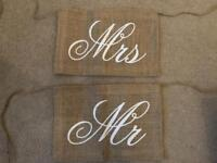 Rustic Wedding Decoration Chair Signs Mr Mrs Hessian Bunting
