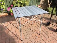 Aluminium roll top camp table