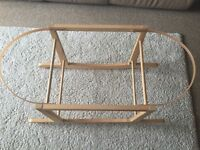 Moses basket wooden rocking stand