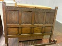 Solid oak vintage old charm linenfold double bed frame
