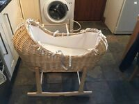 Wicker Moses basket with 2 rocking stands
