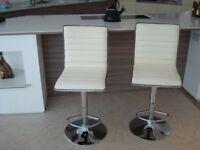 2 white faux leather/chrome bar stools