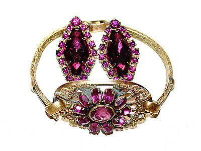 Beautiful Antique Cluster Amethyst Gold Chased Bracelet & Clip Earrings Set