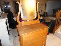 Unique Solid Wood 1940s Harp Back Elm Wood Dresser