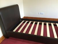 Brown Faux Leather Single Bed