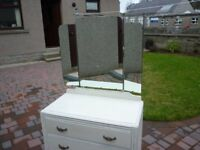 Upcycled Three Drawer Dressing Table - Antique White