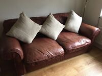NUBUCK 3 SEATER BROWN LEATHER SOFA