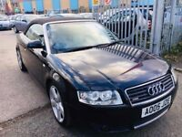 AUDI A4 CONVERTIBLE S LINE 1.8T BLACK MANUAL 2005 FULL SERVICE HISTORY HALF LEATHER PARKING SENSORS