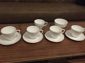 White bone china cups and saucers / Sugar Bowl