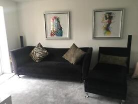 Stunning Velvet Sofa and Matching Chaise lounge