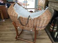 Beautiful Snug Moses Basket & rocking stand - excellent condition.