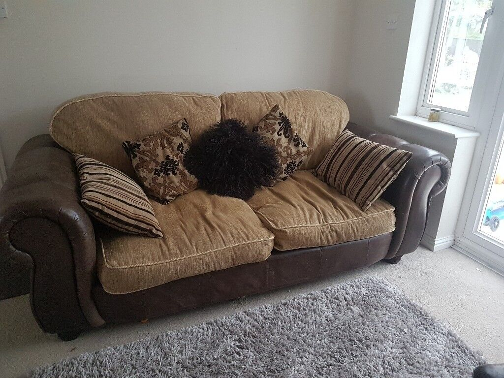 Lovely Brown Leather And Material 3 Seater Sofa