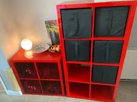 IKEA 2x2 and 2x4 Kallax red shelving