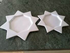 White china Sun/star shaped serving party plates x 2