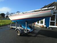 20 Foot Hanceatic Sail Boat, With Yamaha Motor & Trailer **READY FOR THE WATER!!!**