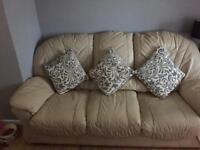2 x 3 seater cream leather sofas Free