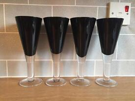 4 Black Conical Wine Glasses from Next.