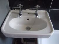 Small bathroom sink/handbasin (with 2 x taps and 2 x matching bath taps- optional)