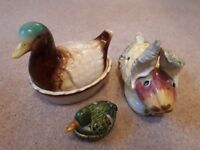 Cute ceramic duck and rabbit kitchen containers