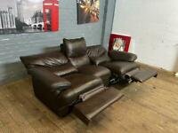 HARVEYS REAL LEATHER SOFA RECLINER IN EXCELLENT CONDITION