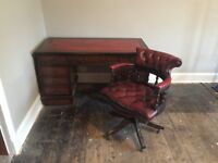 Antique wooden Captain's desk and chair