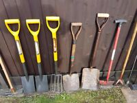 SELECTION GARDEN TOOLS, SPADES, SHOVELS, PICK, GARDEN FORK, GARDEN HOE, Heavy Duty Sledgehammers