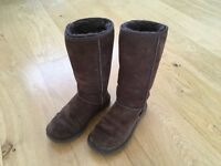 Ladies calf length brown UGG boots size UK 4.5