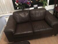 Small chocolate leather sofa - ideal for small spaces