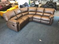LITTLEWOODS LEIGHTON BROWN REAL PURE LEATHER RECLINER CORNER SOFA 5-6 SEATER MANUAL CHOCOLATE