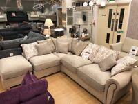 Cream suede feel Corner Sofa