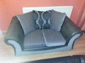 Fabric brown and grey sofa.