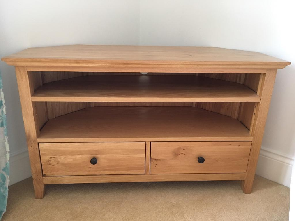 Solid Oak TV/Media Corner Unit with draws