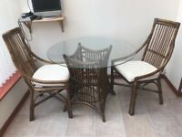 Bistro dining table with chairs.