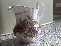 Scottish cream jug printed GATEHOUSE OF FLEET decorated white and purple heather and tartan,