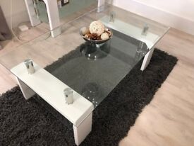 Matching Tempered Glass Coffee and TV Table