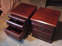 PAIR BEDSIDE CABINETS WITH PULL OUT SHELF AND DRAWERS. MAHOGANY